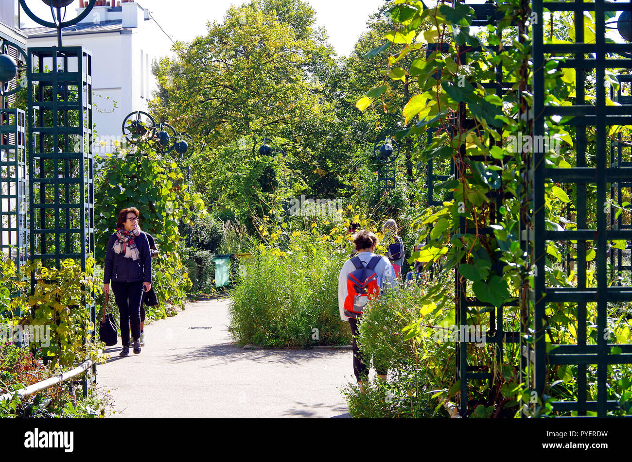 Paris France, Promenade Plantée, linear garden on a disused railway viaduct, with dramatic planting and views and freedom from traffic for long walks Stock Photo