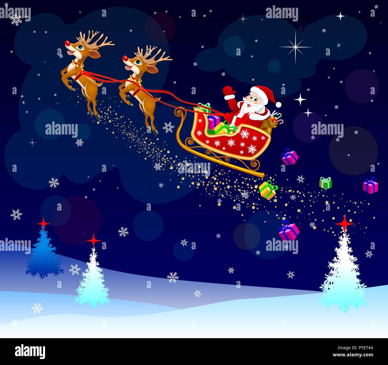 Santa Claus on his sleigh, harnessed by deer. Santa Claus with gifts on his sleigh. - Stock Image