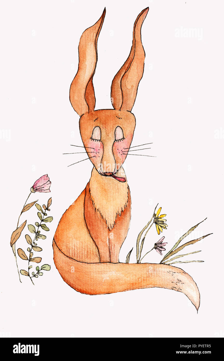 Funny Orange Cartoon Fox With Waving Ears Tongue And Relaxing Pose