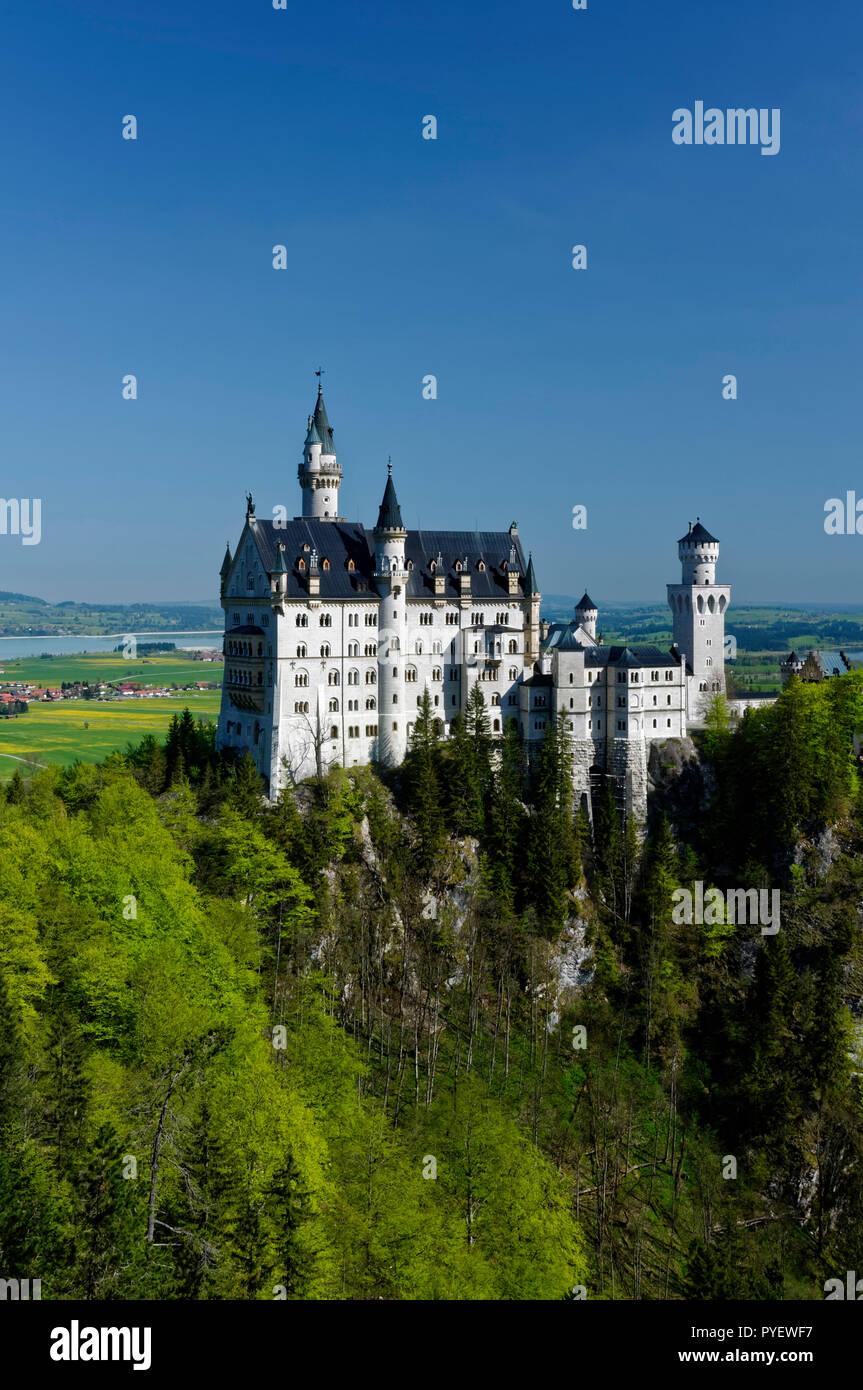 Schloss Neuschwanstein (Neuschwanstein castle) seen from Marienbrücke, near Hohenschwangau, Allgäu, Bavaria; Germany Stock Photo