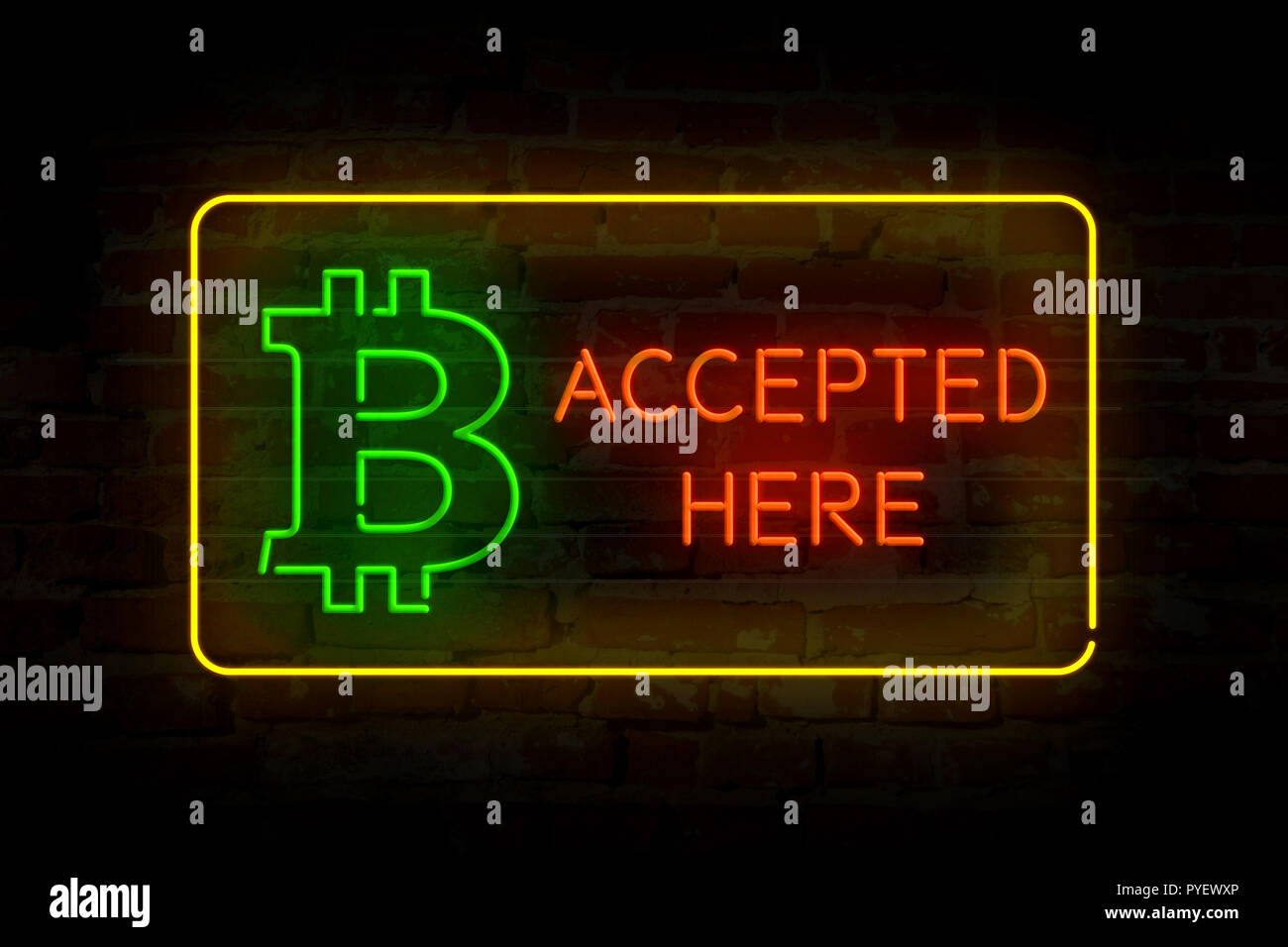 Bitcoin accepted here neon lights on brick wall abstract background