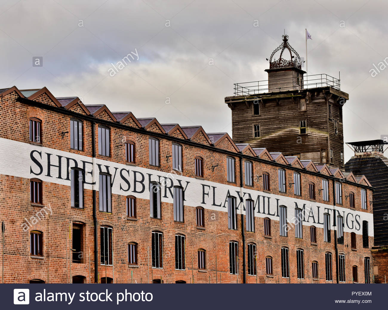 Restoration of the Shrewsbury Flaxmill Maltings continues. Built in 1797, it was the world's first Iron frame building, Shropshire, England, UK. Stock Photo