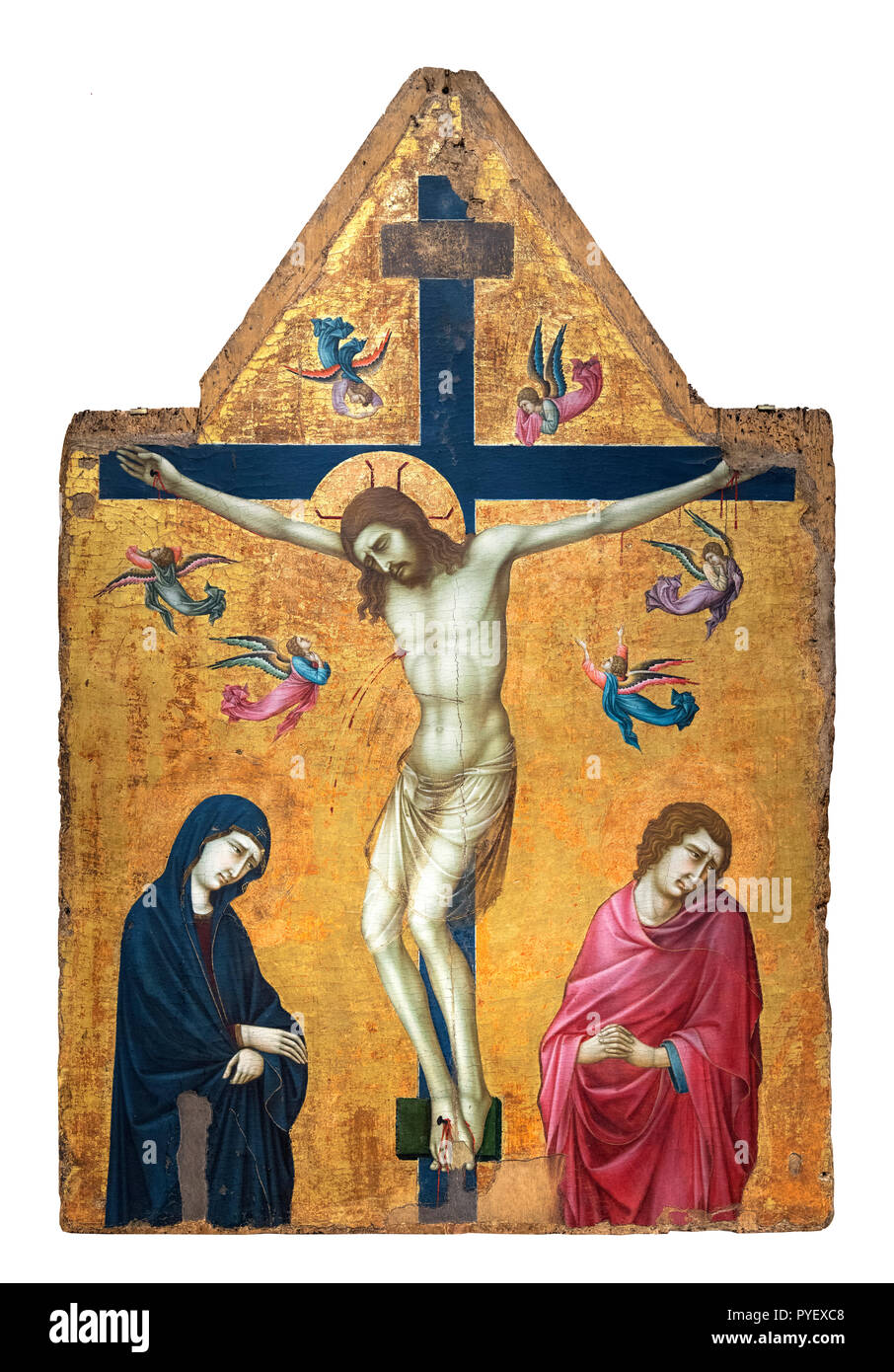The Crucifixion with the Virgin, Saint John and Angels by Ugolino di Nerio (c.1280-1349), tempera and gold on panel Stock Photo