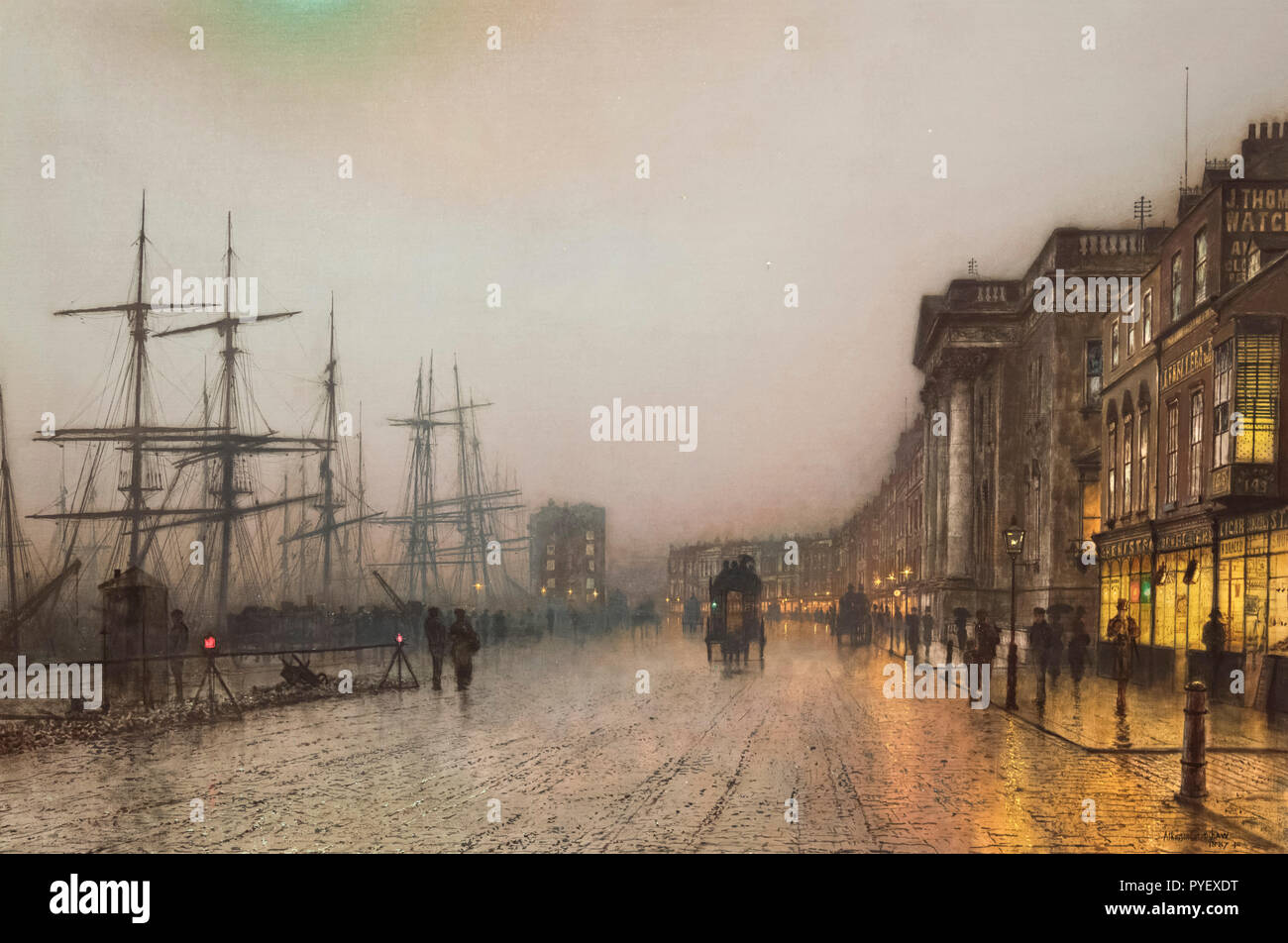 Canny Glasgow by John Atkinson Grimshaw (1836-1893), oil on canvas, 1887 - Stock Image