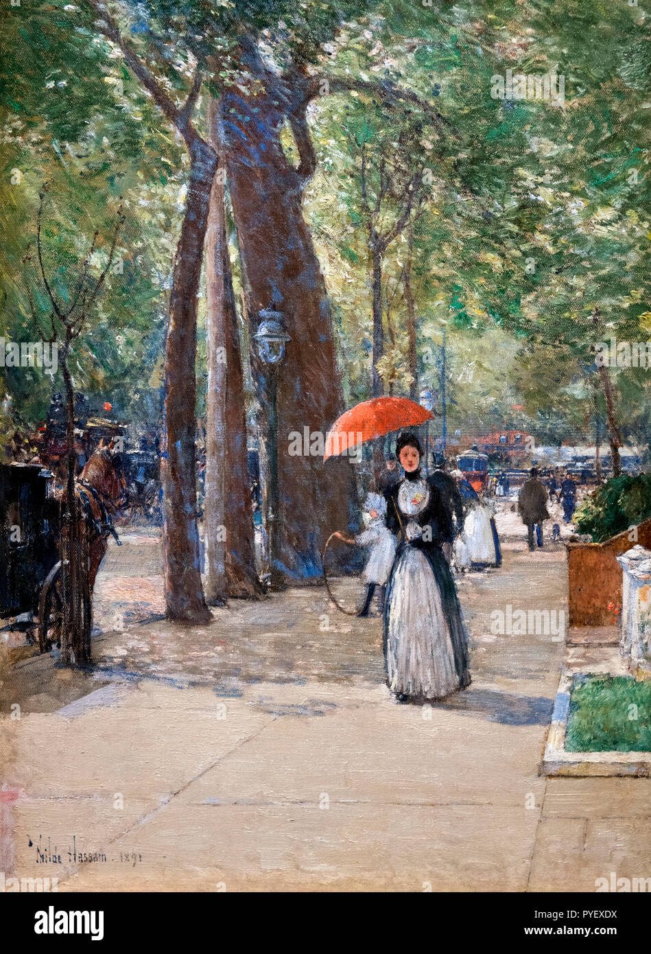 Fifth Avenue at Washington Square New York by Childe Hassam (1859-1935), oil on canvas, 1891 Stock Photo