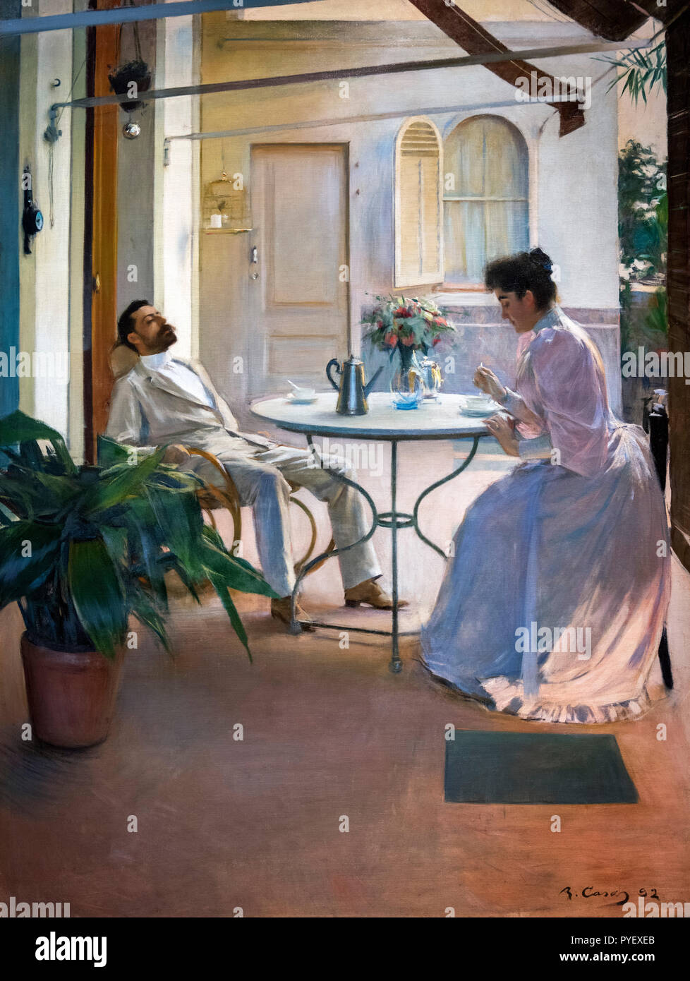 Interior in the Open Air by Ramon Casas i Carbó (1866-1932), oil on canvas, c.1892 - Stock Image