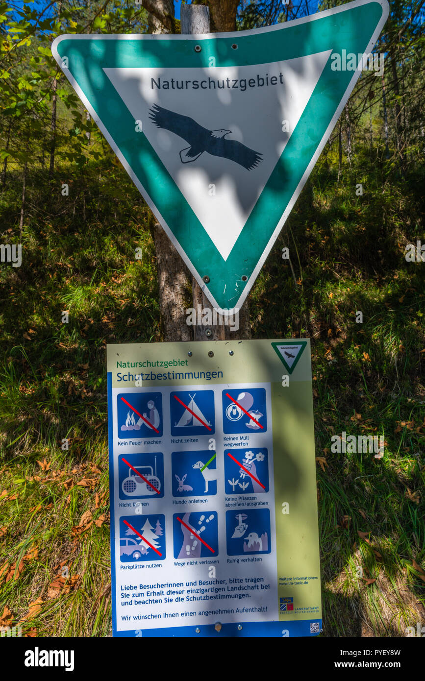 Nature reserve, signpost, Vorderriss, Karwendel Mountains, the Alps, Bavaria, Germany, - Stock Image