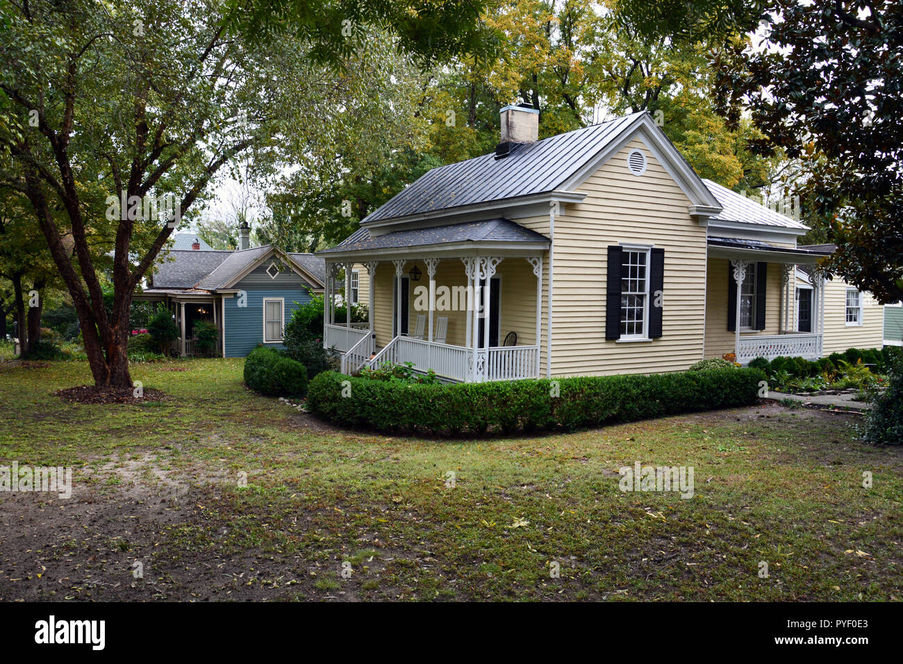 Historic homes in Raleigh North Carolina's Oakwood neighborhood. Stock Photo