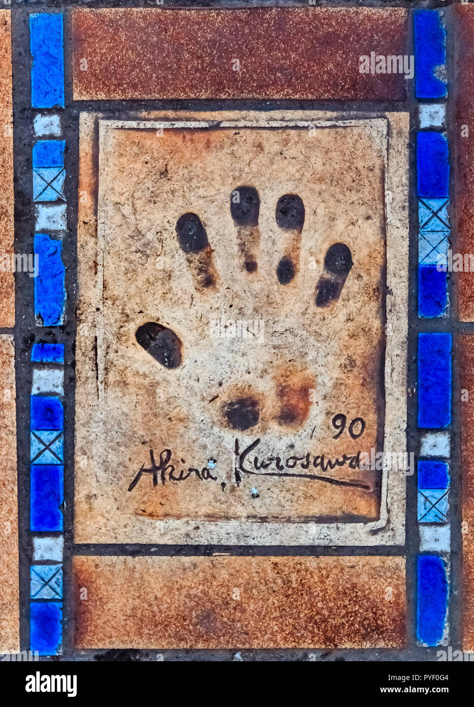 Cannes, France - October 18, 2013: Hand print of Akira Kurosawa on the Cannes Walk Of Fame Stock Photo