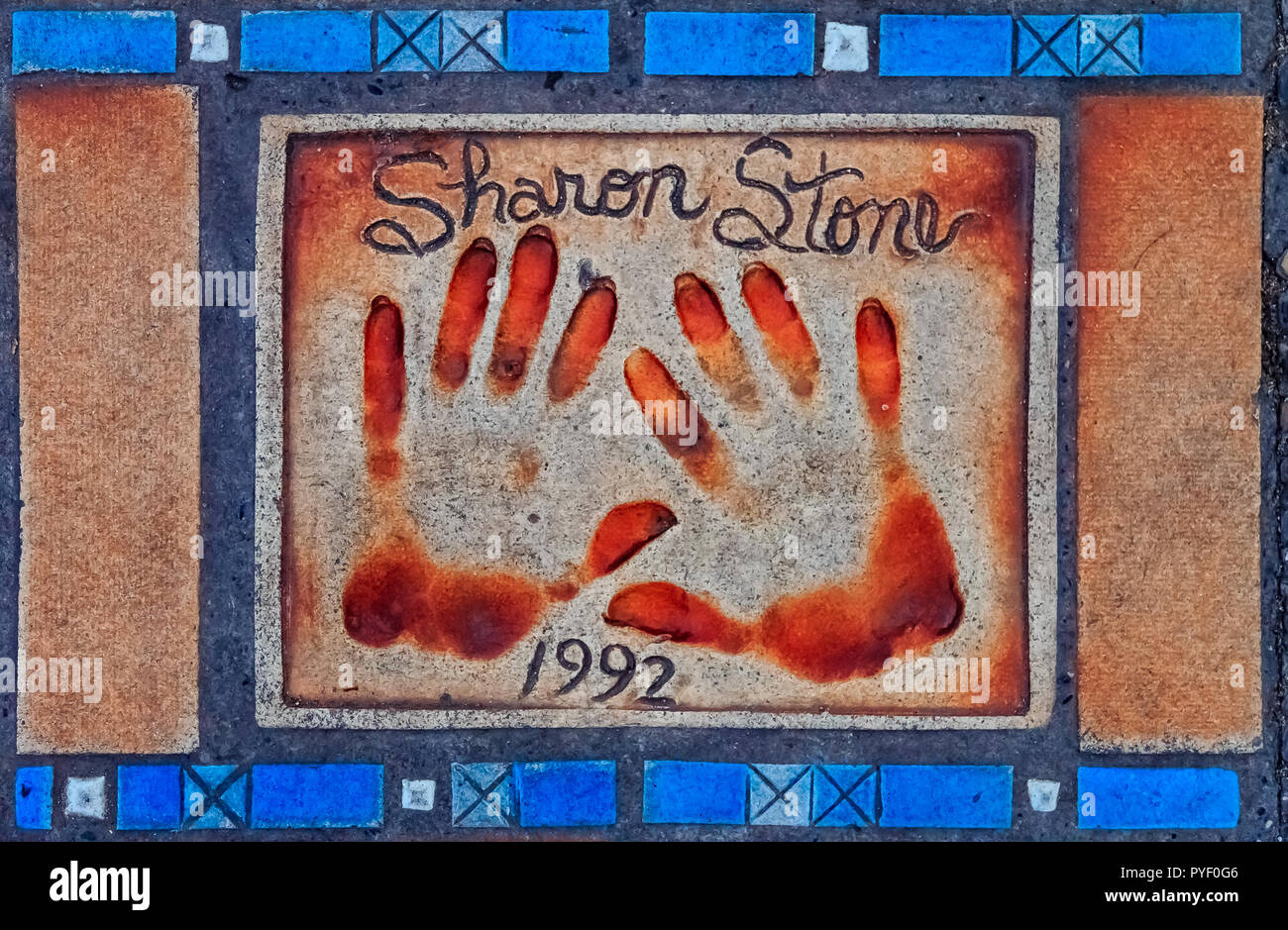 Cannes, France - October 18, 2013: Hand print of Sharon Stone on the Cannes Walk Of Fame Stock Photo