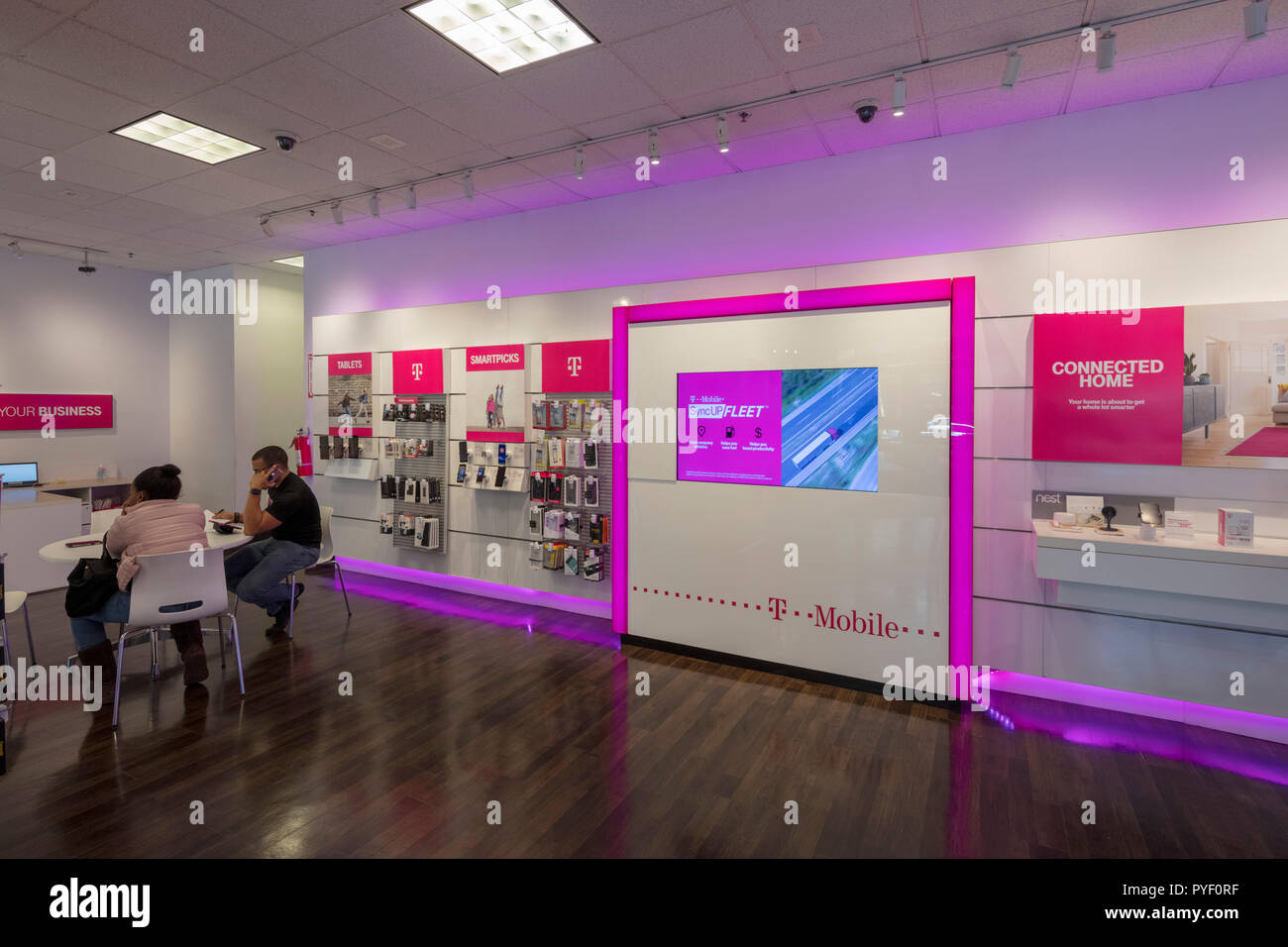 Interior Of T Mobile Store New Haven Connecticut Usa Stock