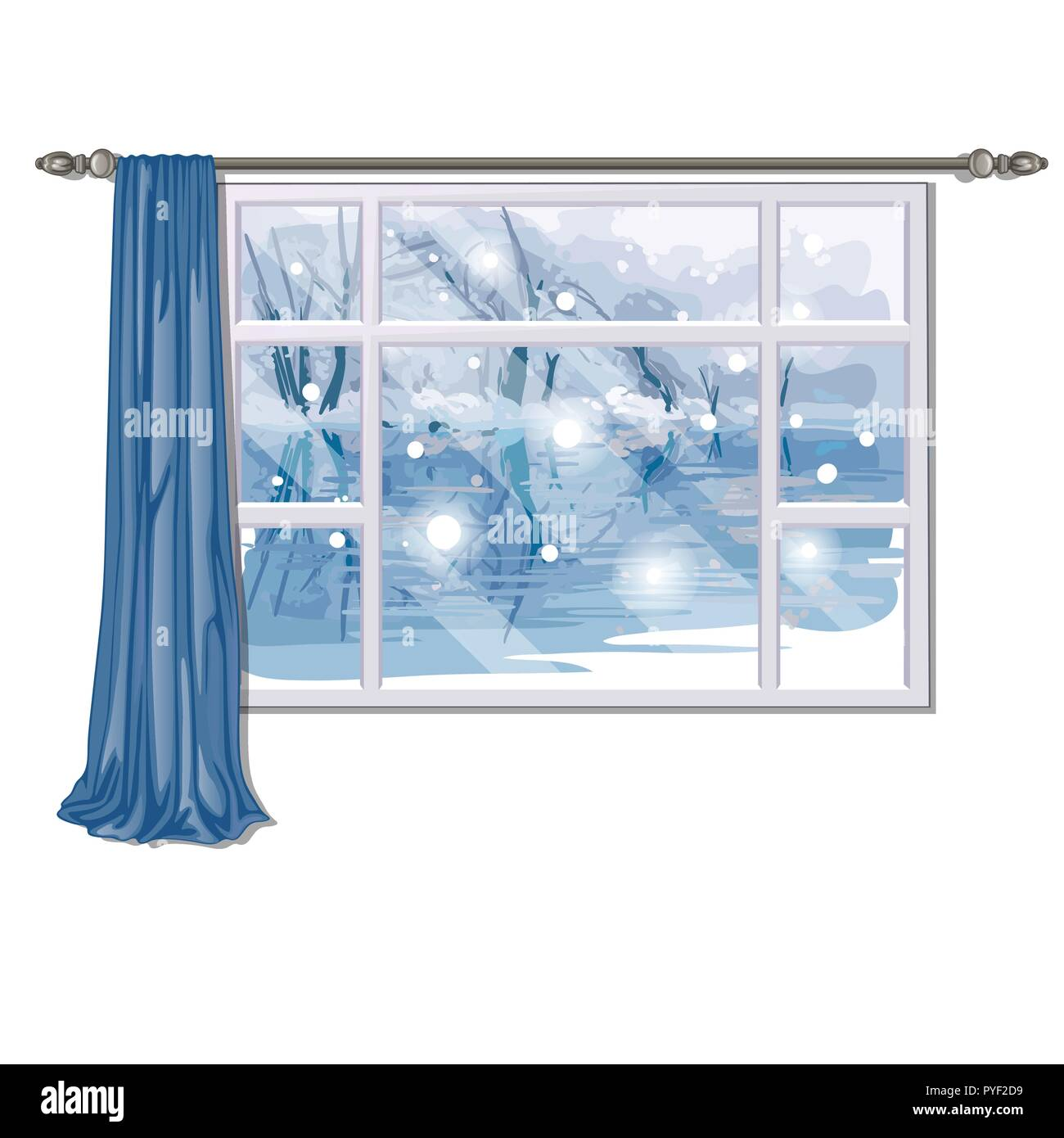 The window overlooking the forest river in winter isolated on white background. Interior design luxury country house. Vector illustration. - Stock Image