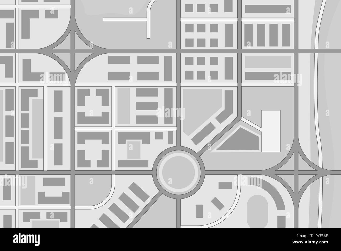 Abstract city map. Black and white - Stock Vector