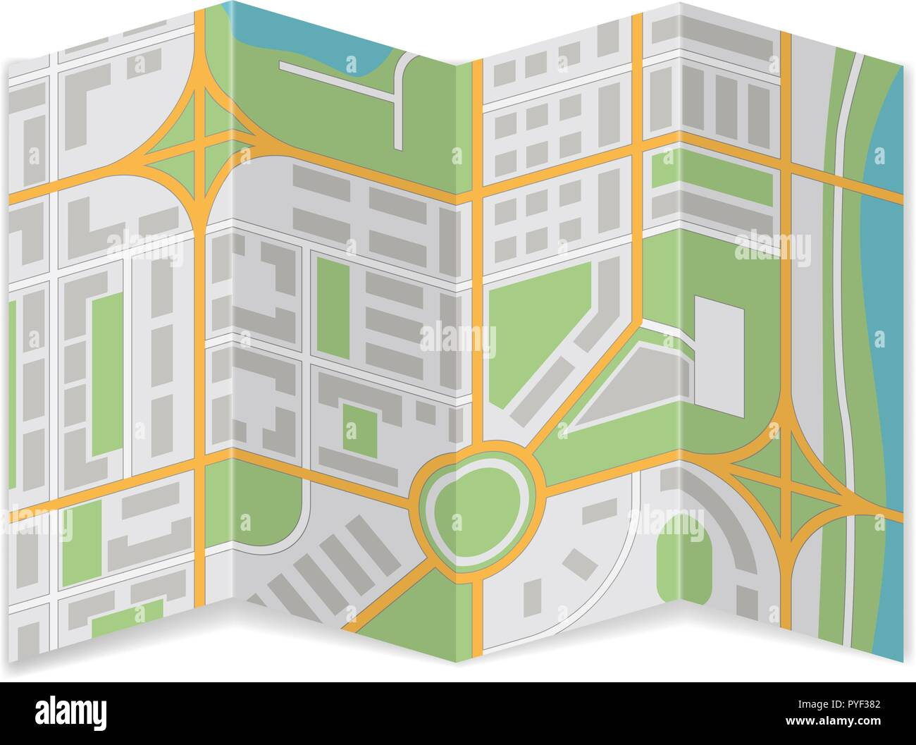 Folded city map. Abstract cartography - Stock Vector