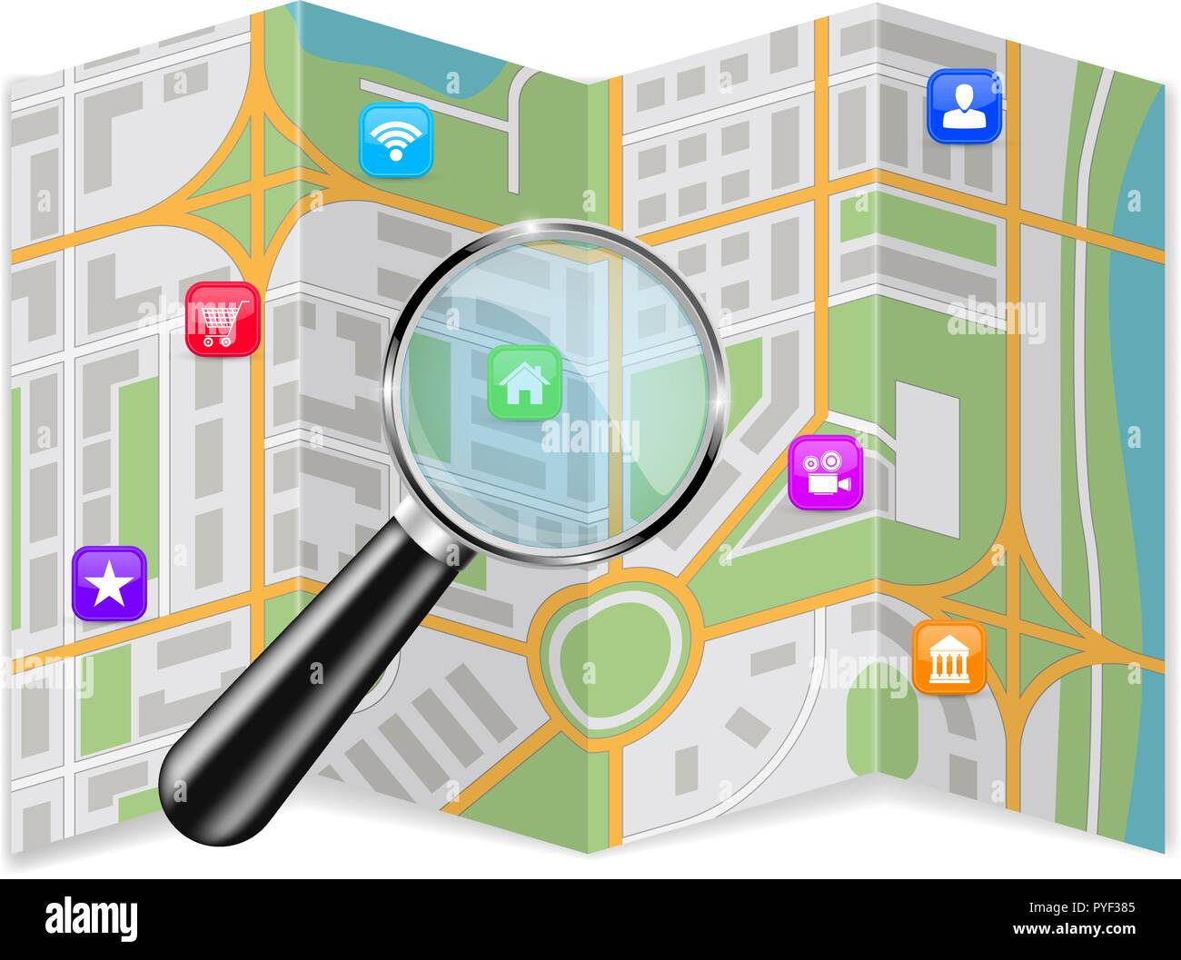 City map with location icons and magnifying glass - Stock Vector
