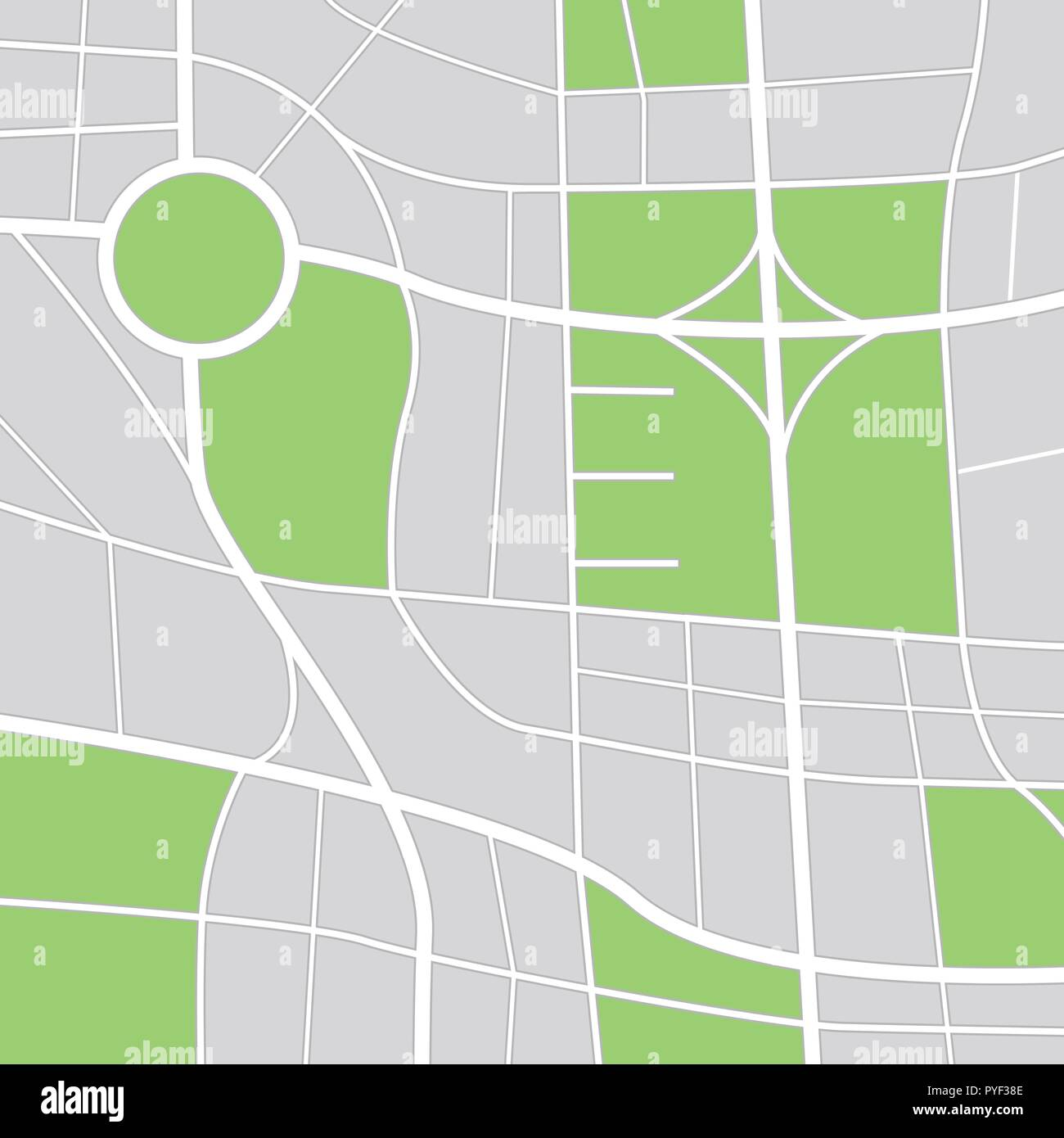 Abstract city map. Zoom out view - Stock Vector