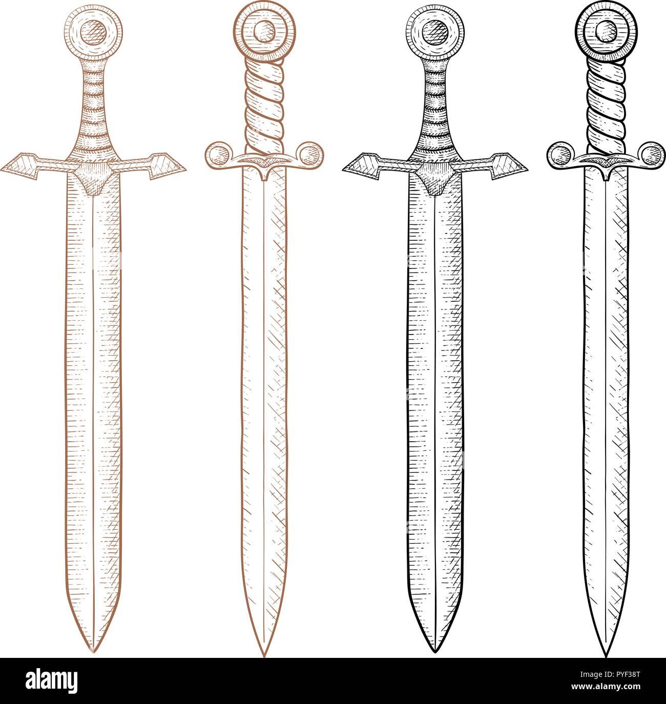 Sword. Hand drawn sketch - Stock Vector