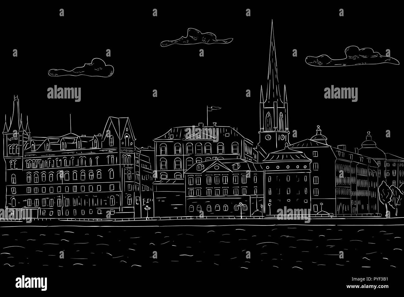 Old city of Stockholm, lake view. Black outline hand drawn sketch - Stock Vector