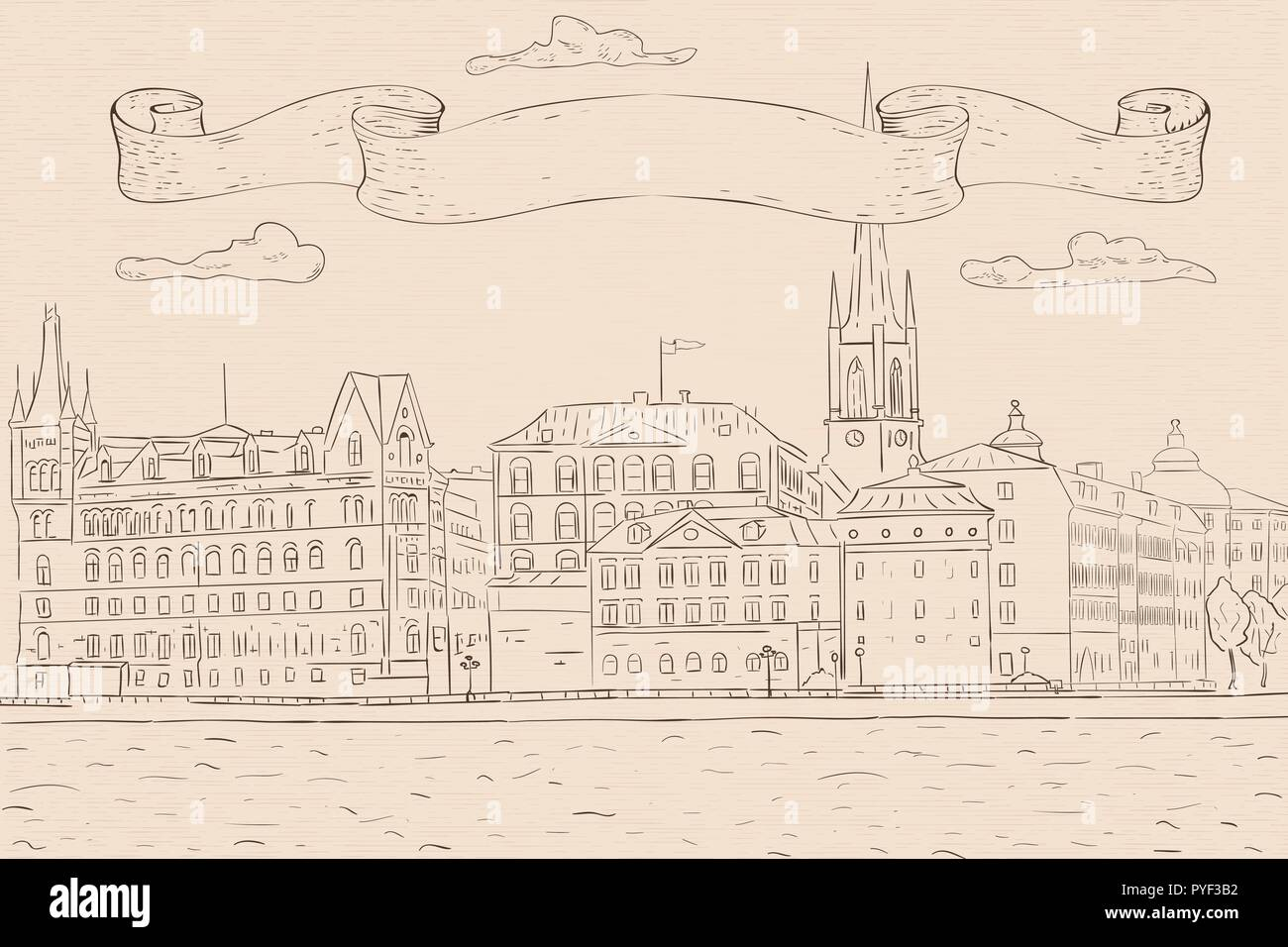 Old city of Stockholm, lake view. Hand drawn sketch. Outline drawing on beige background - Stock Vector