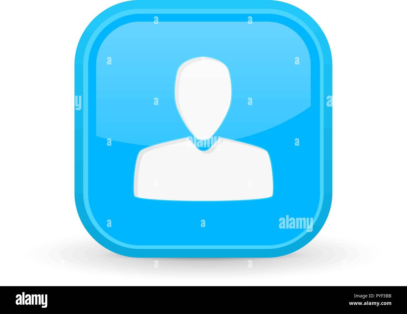User icon. Blue square shiny button - Stock Image