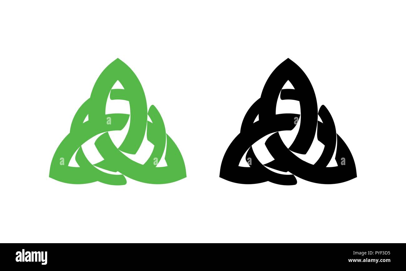 Triquetra wiccan pagan symbol from Charmed isolated on white background. Vector illustration of Celtic sign. - Stock Vector