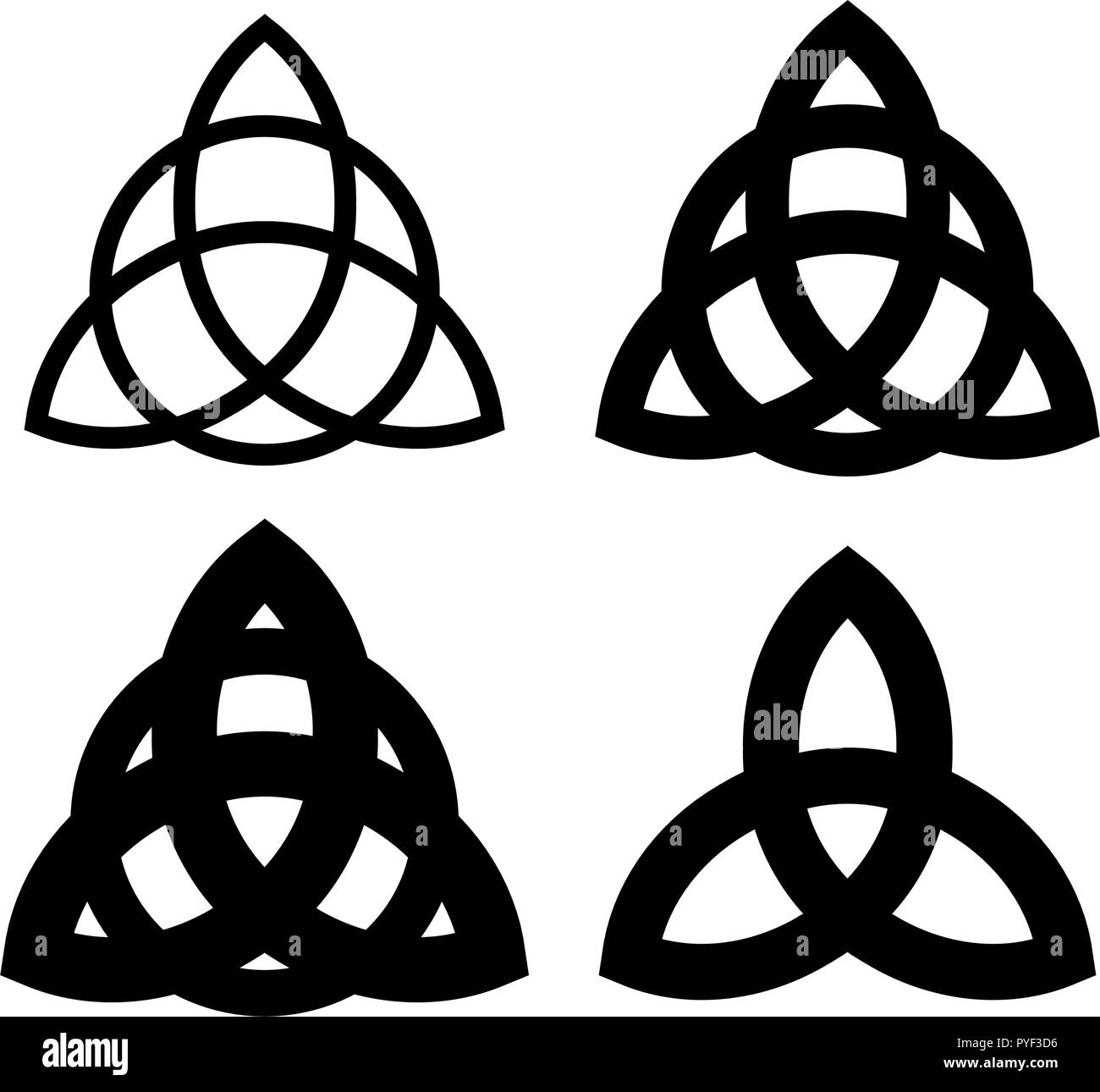 Triquetra - Wiccan symbol from Charmed. Celtic Pagan trinity knots different forms. Vector icons of ancient emblems. - Stock Vector