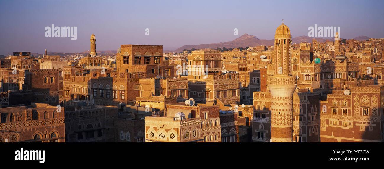 Yemen, Sanaa, Old Town, elevated view, Unesco World Heritage. Stock Photo