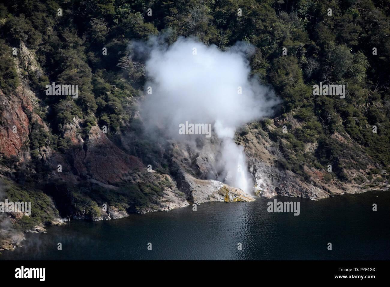 Steaming Ciffs, Lake Rotomahana, near Rotorua, North Island, New Zealand - aerial - Stock Image