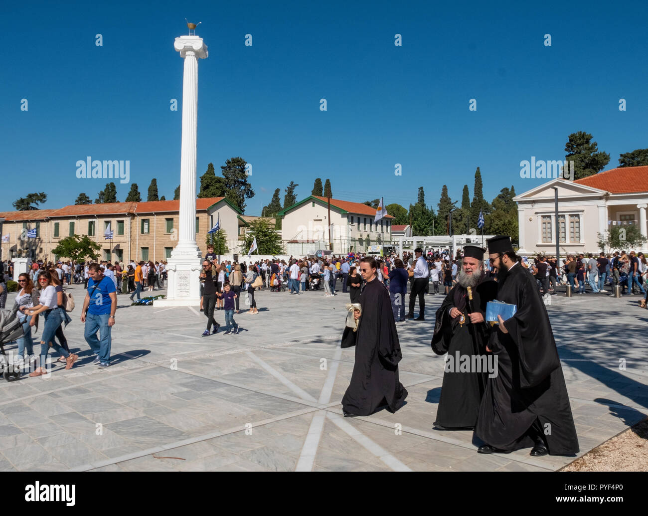 28/10/18: Cyprus: Ochi Day parade Paphos  town centre, Cyprus. - Stock Image