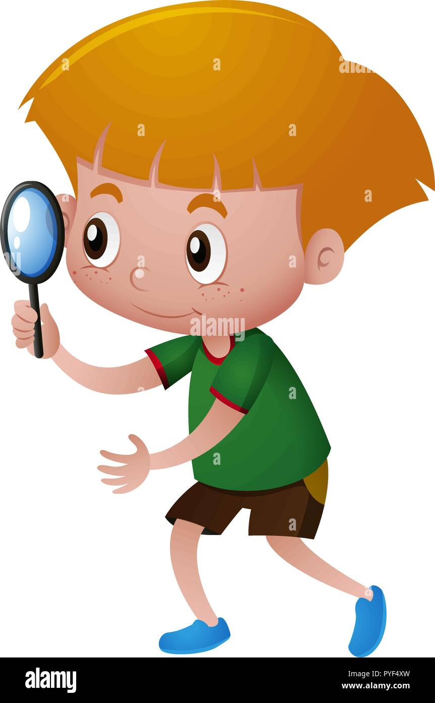 Little boy looking through magnifying glass illustration - Stock Vector