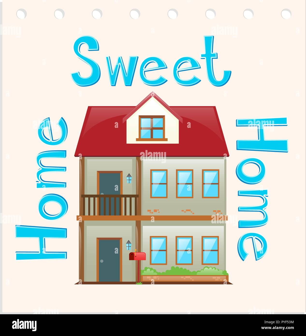 Wordcard with home sweet home illustration - Stock Vector