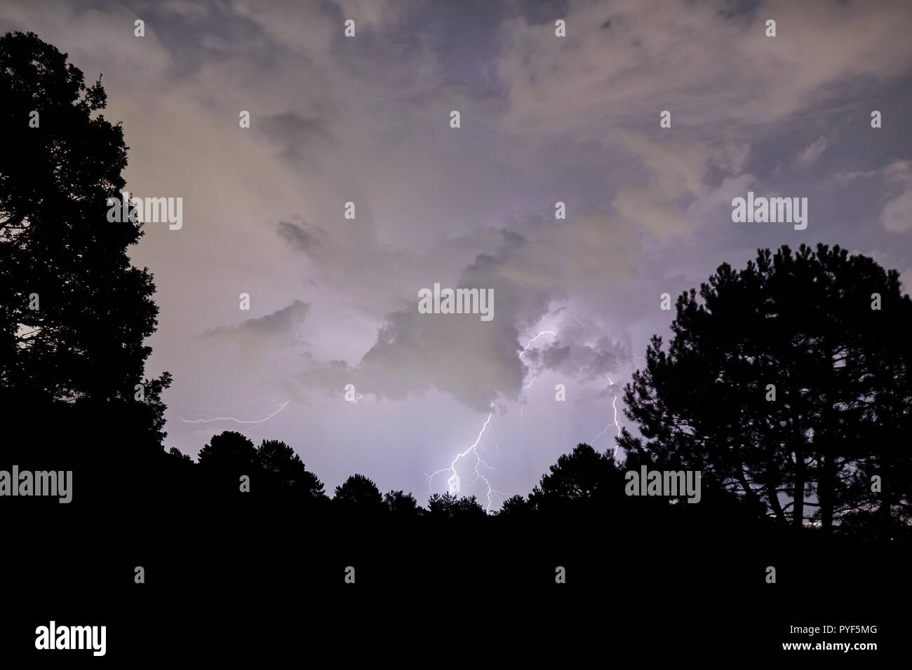Thunderstorm in the night of the lunar eclipse 2018 - Stock Image