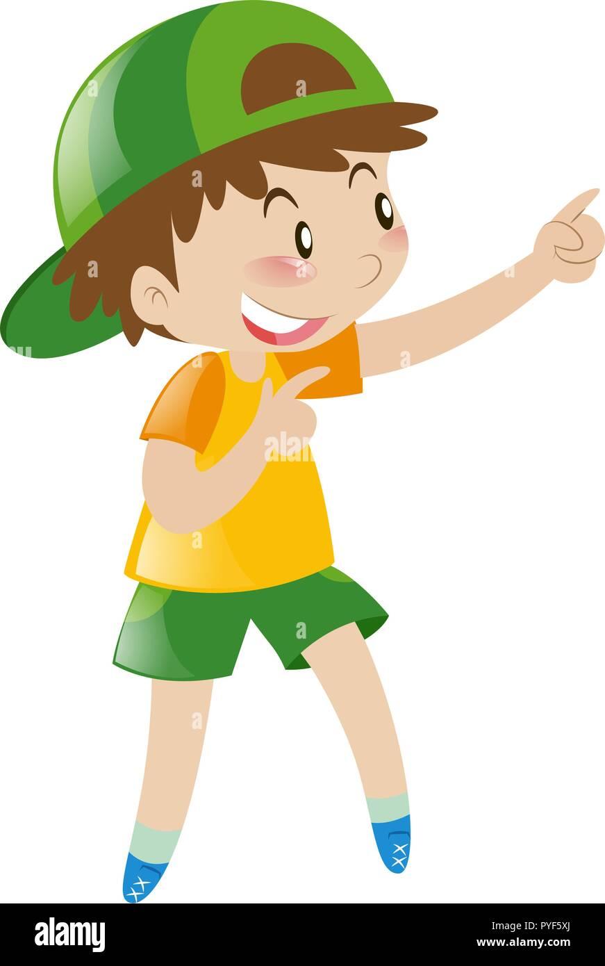 Little boy pointing finger at something illustration - Stock Vector