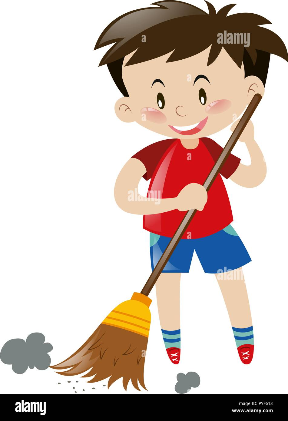 boy sweeping floor with broom illustration stock vector image art alamy https www alamy com boy sweeping floor with broom illustration image223454143 html