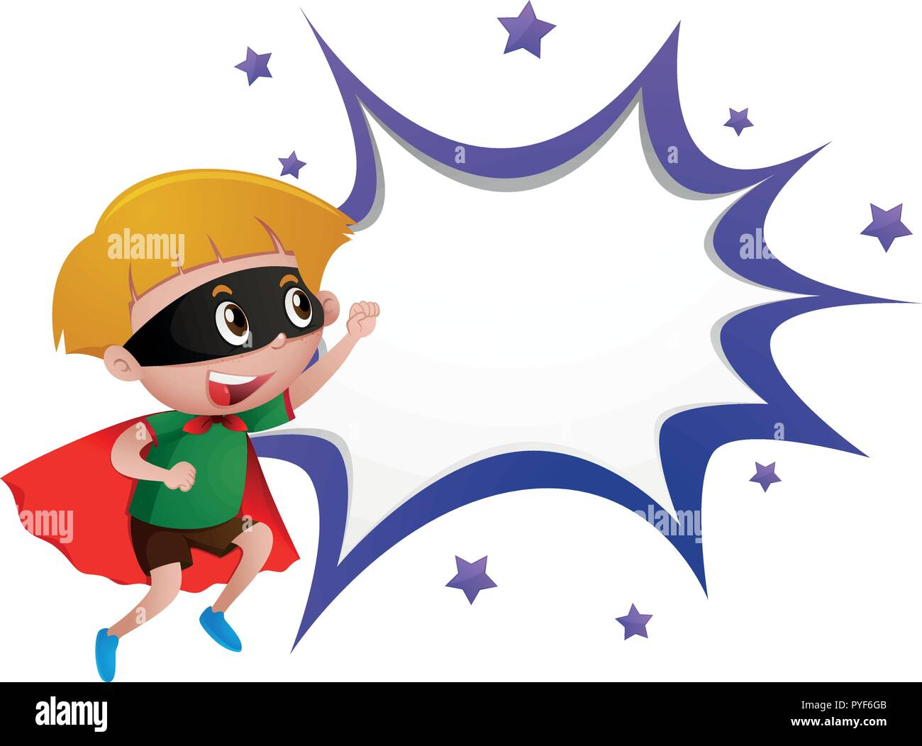 border template with boy in hero costume illustration stock vector