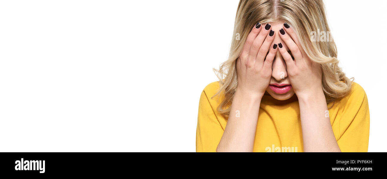 Stressed Exhausted Young Female Student Having Strong Tension Headache Banner Feeling Pressure And Stress Depressed Student With Head In Hands Over Stock Photo Alamy