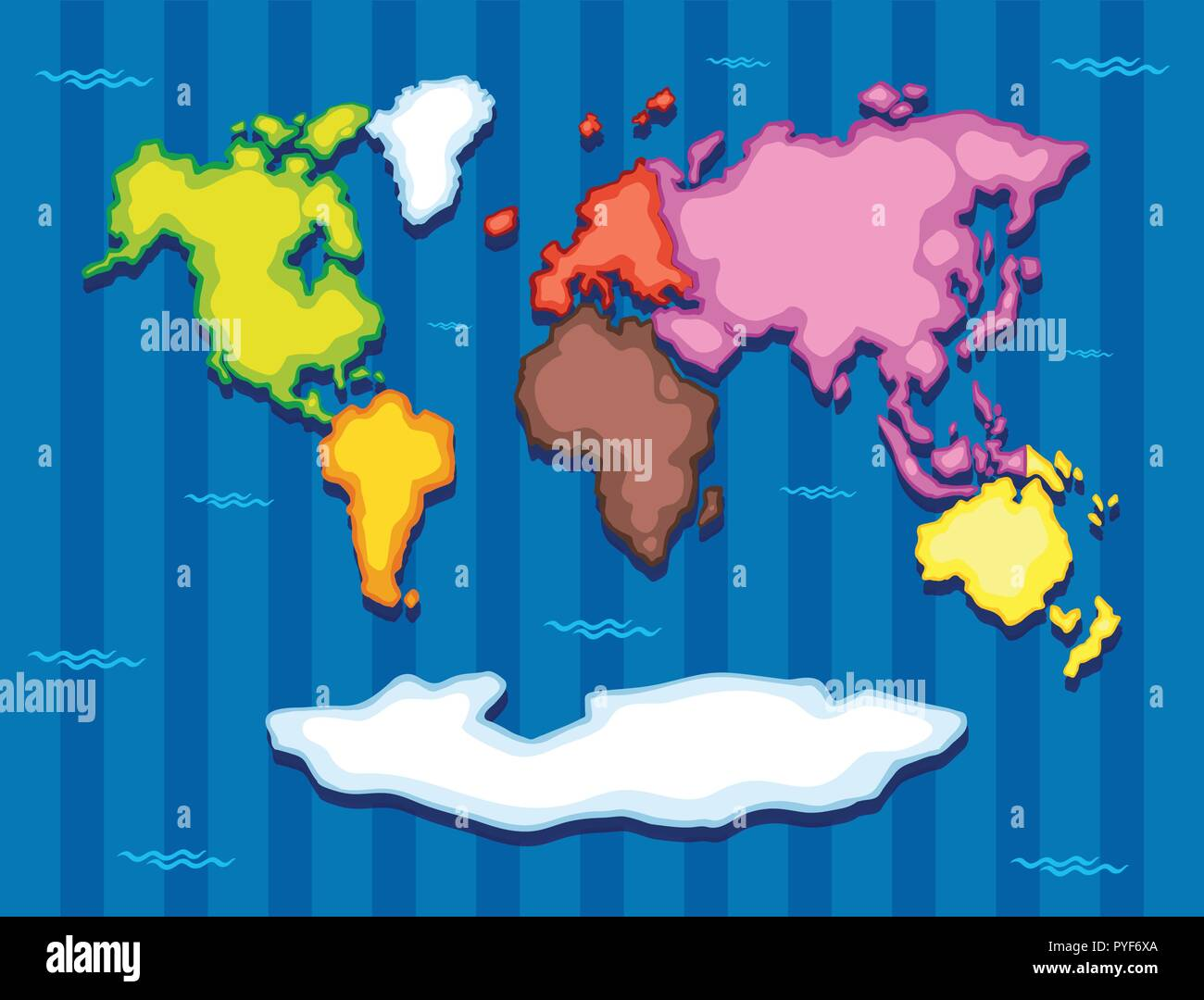 World map with seven continents illustration Stock Vector Art ...