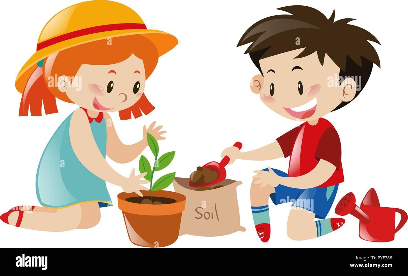 Boy and girl planting tree illustration Stock Vector
