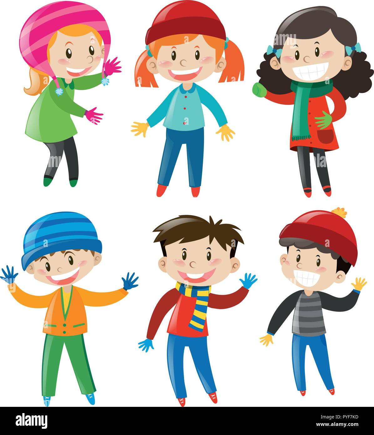 76531c80aae2 Boys and girls in winter outfit illustration Stock Vector Art ...