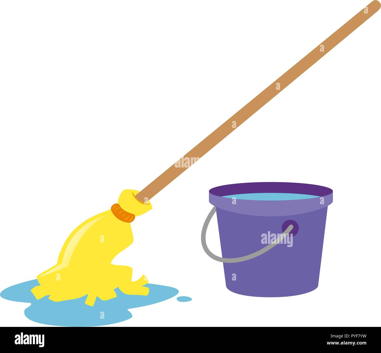 Mop and water bucket illustration - Stock Vector