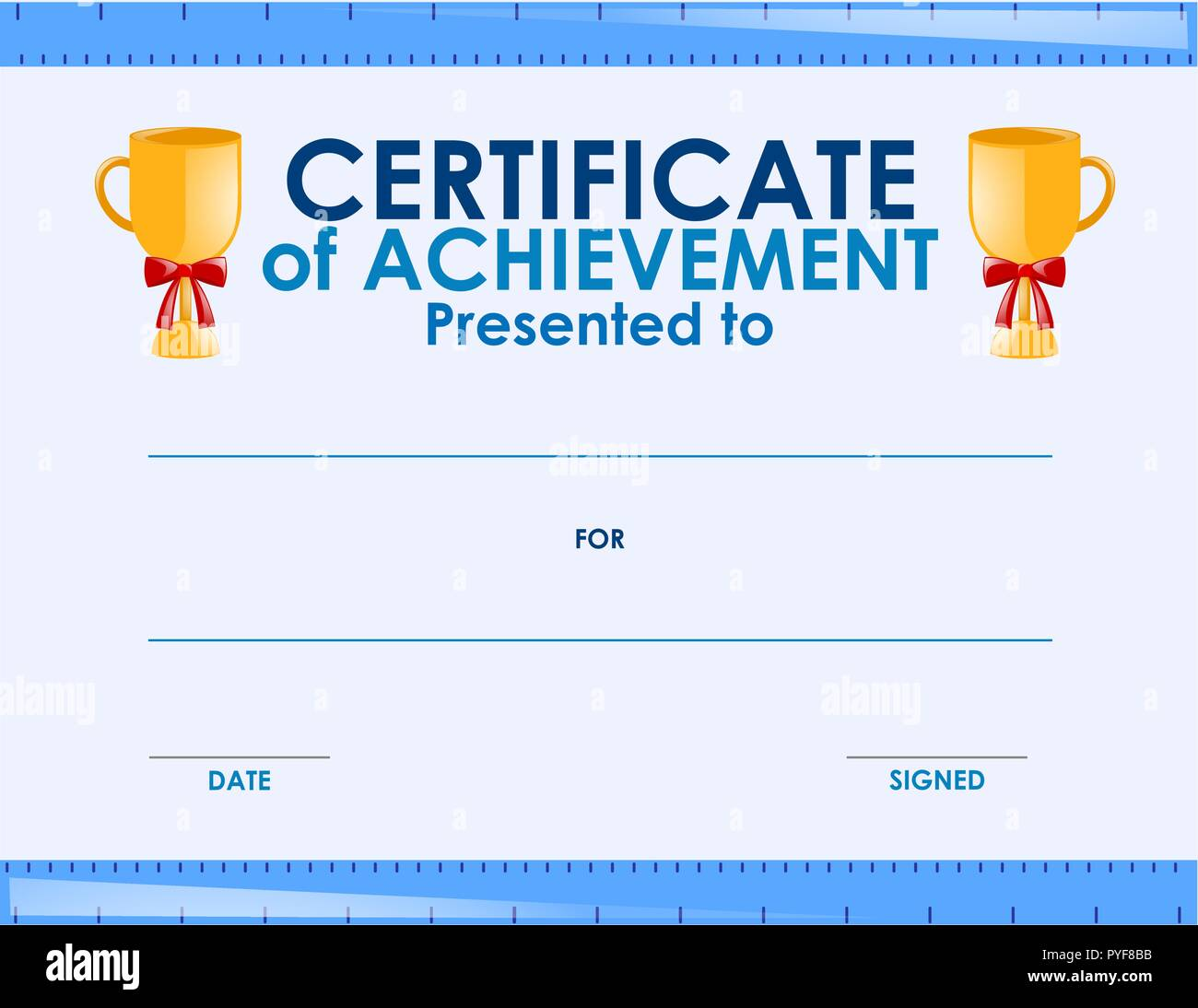 Certificate template with two trophies illustration - Stock Vector