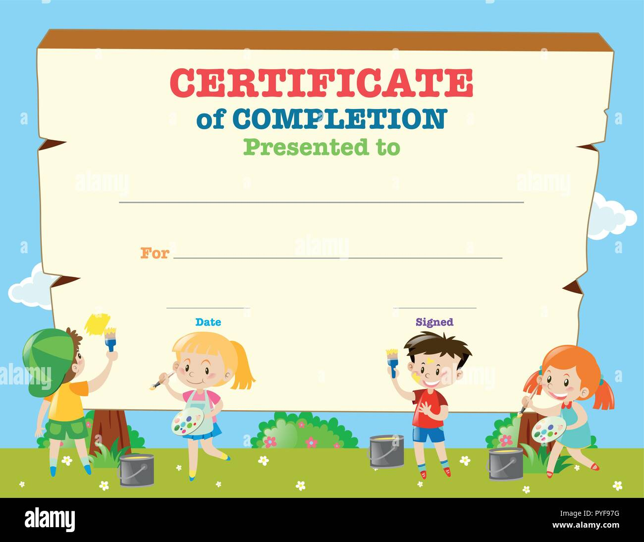 Certificate Template With Happy Children Illustration Stock Vector