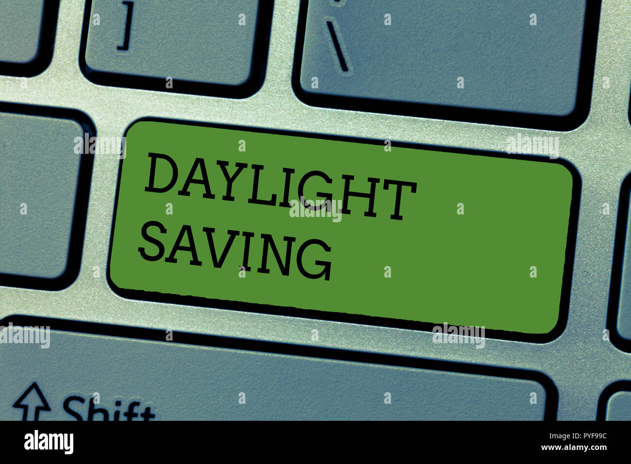 Writing note showing Daylight Saving. Business photo showcasing Storage technologies that can be used to protect data. - Stock Image