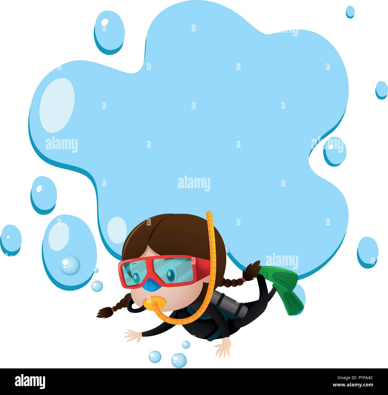 Border Template With Kid Scuba Diving Illustration