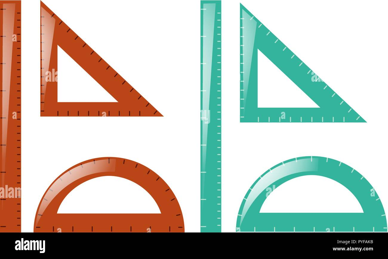 Rulers and triangles in brown and blue illustration - Stock Vector