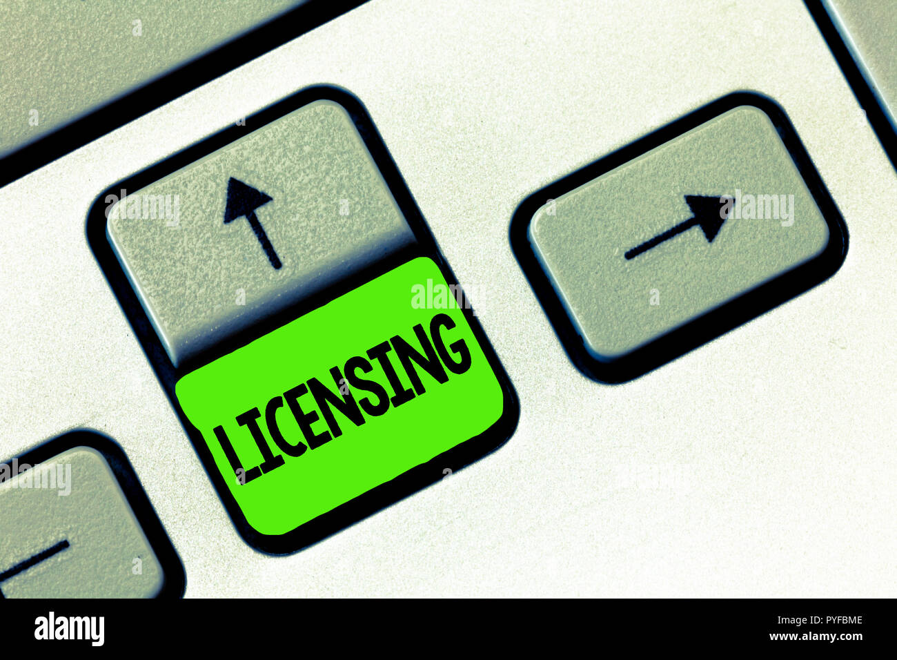 Word writing text Licensing. Business concept for authorize the use perforanalysisce or release of something like car. - Stock Image