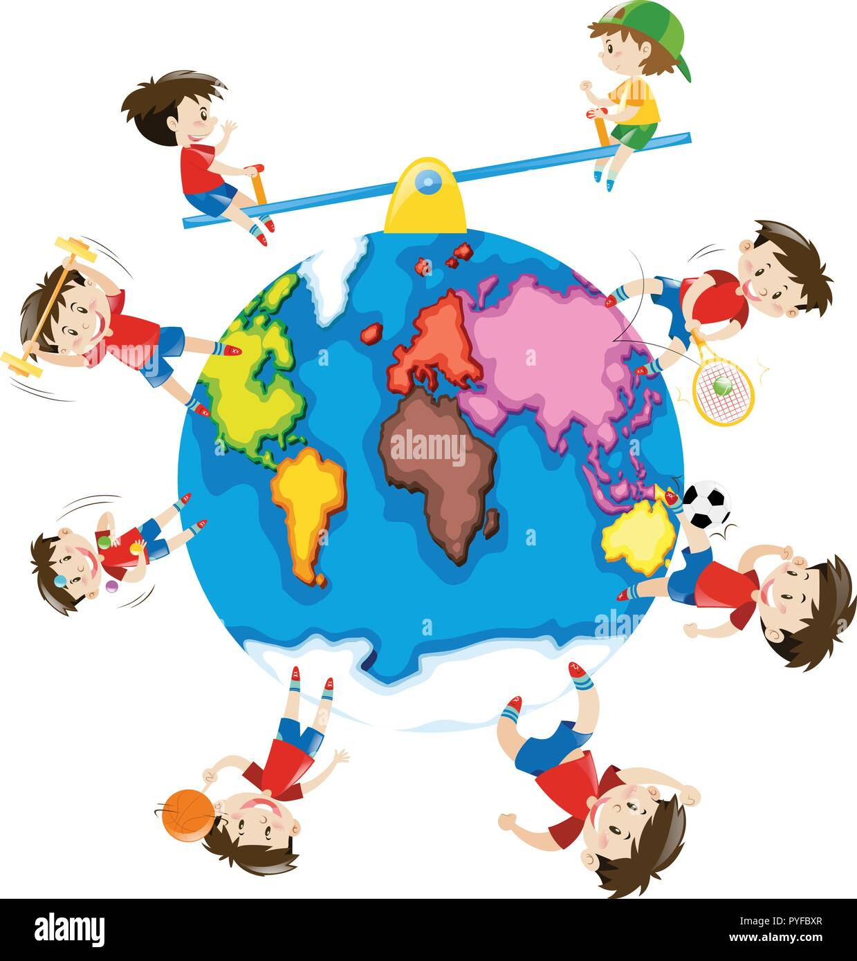 Boy doing different activities around the world illustration - Stock Image