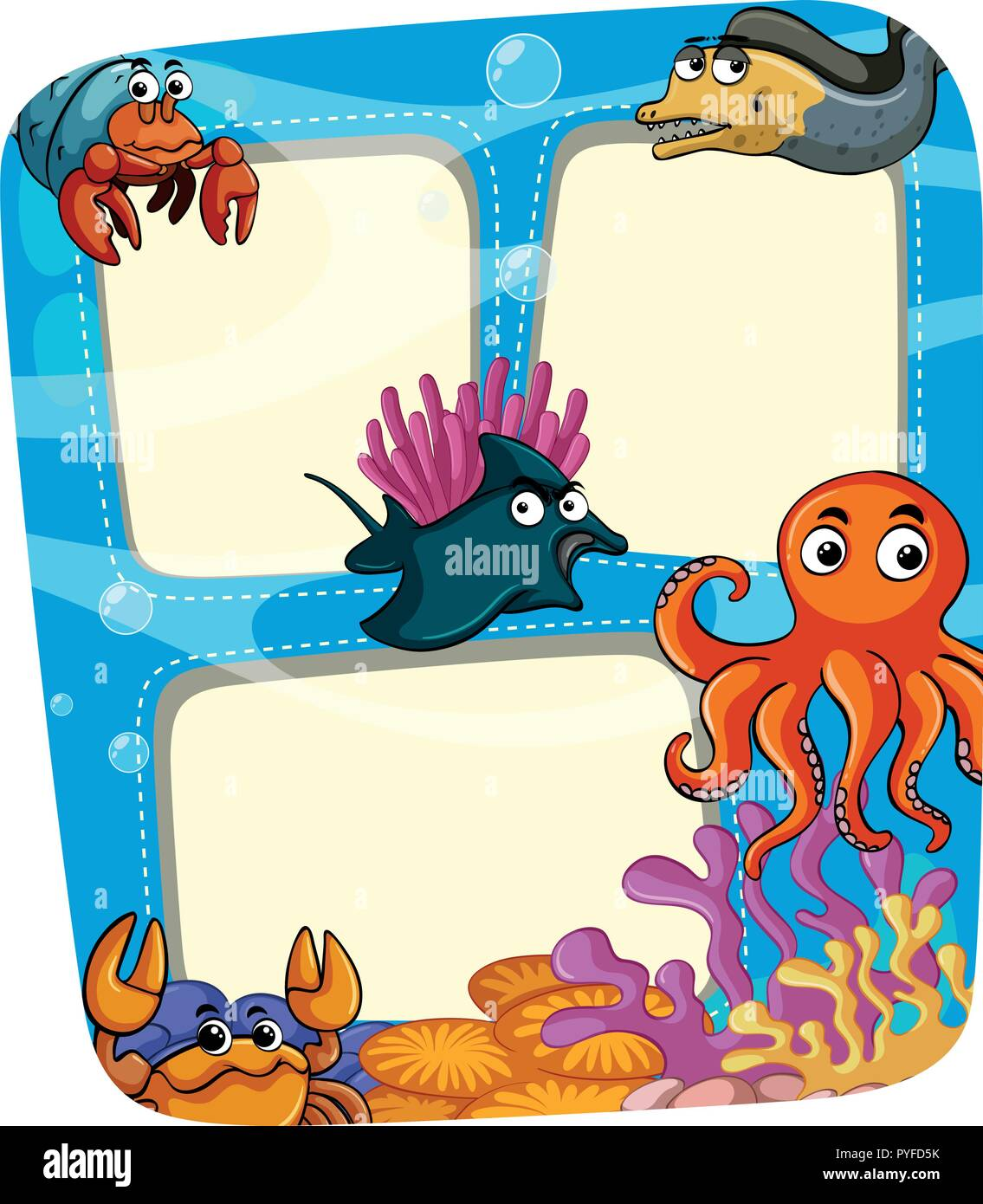 border template with animals under the sea illustration stock vector
