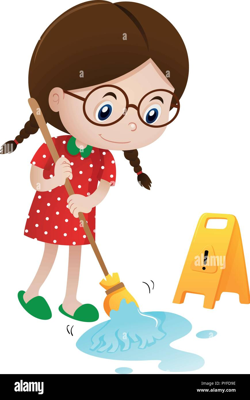 Girl cleaning wet floor with mop illustration - Stock Vector