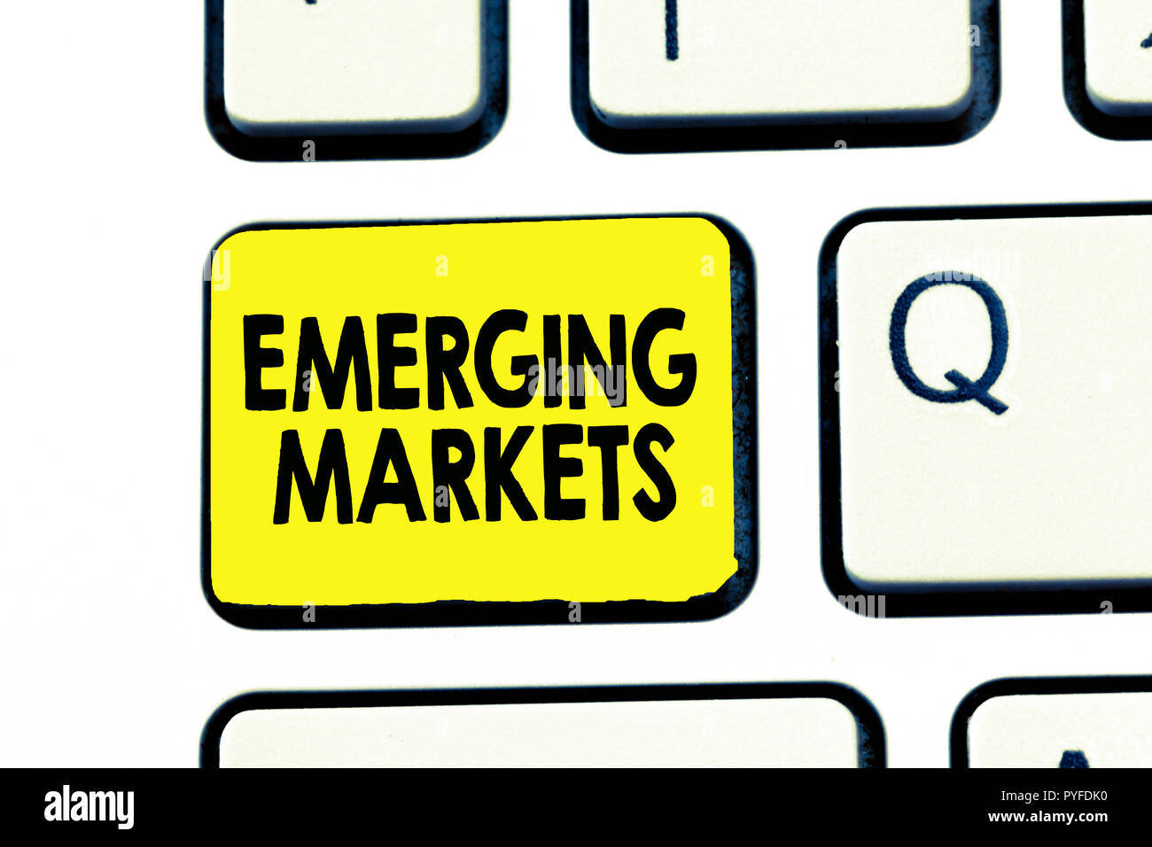Text sign showing Emerging Markets. Conceptual photo country that has some characteristics of developed stores. - Stock Image